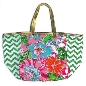 LILLY PULITZER Floral Bag with Gold Handles